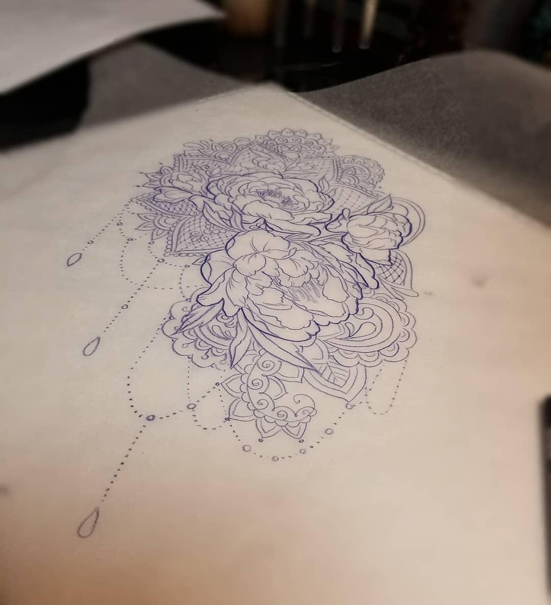 做旅游的都先生牡丹梵花纹身手稿